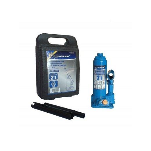Домкрат гидравлический 2 т Unitraum UN90204S бутылочный в пластиковом кейсе